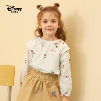 迪士尼 Disney 童裝女童寶寶衣服針織荷葉袖插肩長袖T恤可愛上衣2020春夏 DB011FE05 白底櫻桃 130 *2件