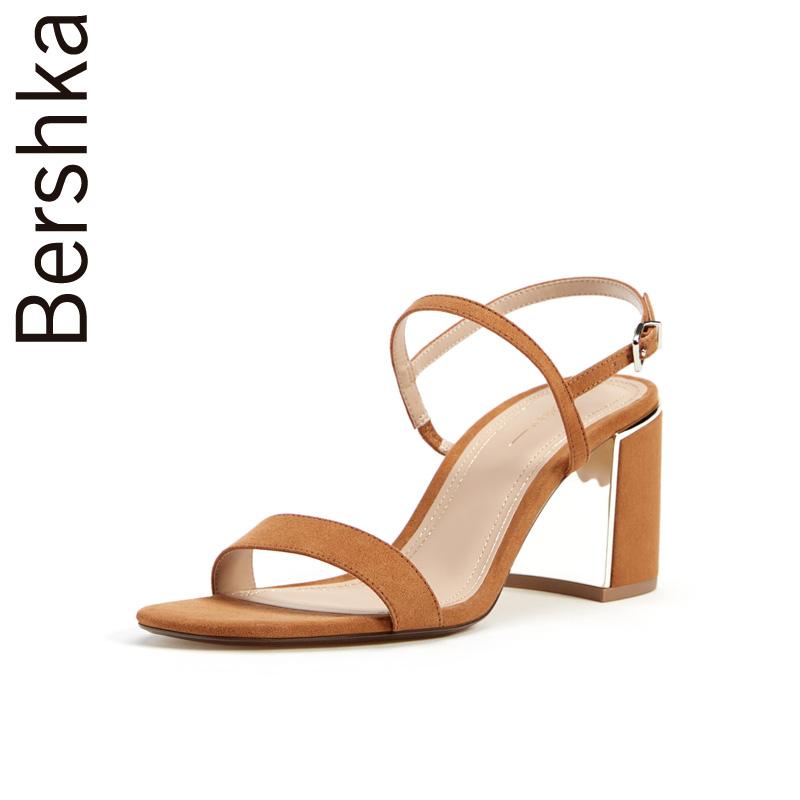 Bershka女鞋 2019新款時尚休閑一字帶露趾粗高跟涼鞋 11507031105