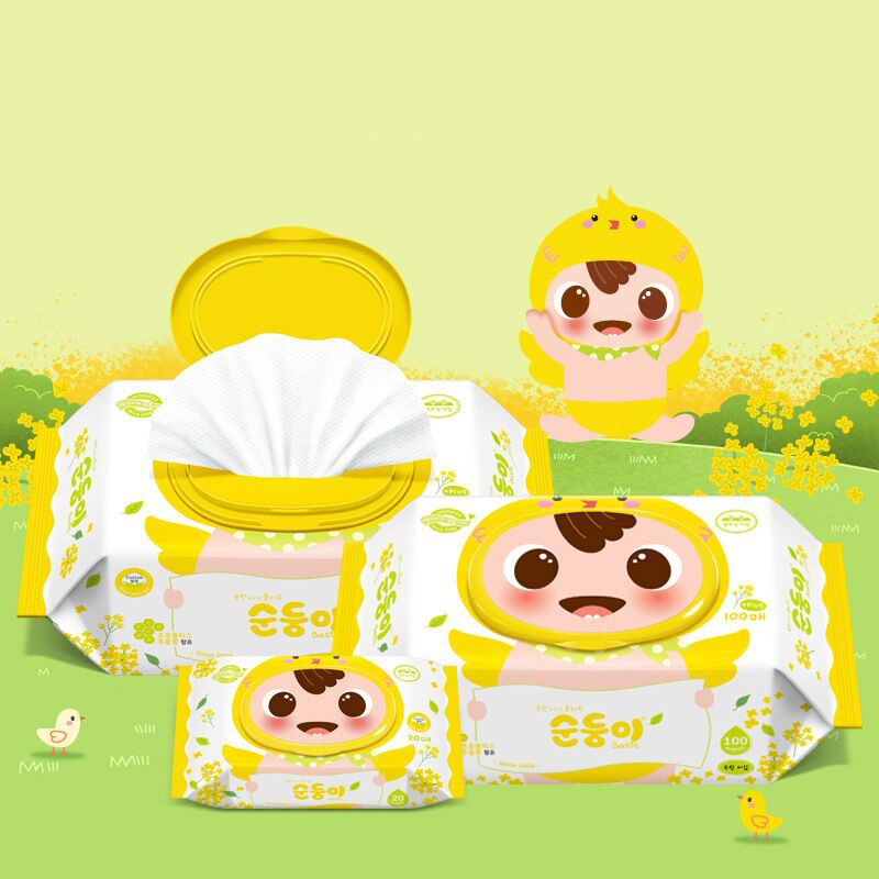 顺顺儿韩国进口婴儿湿巾纸宝宝手口专用湿纸巾小黄鸡版100抽10包