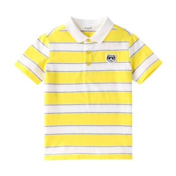 安奈儿童装男童POLO衫短袖夏季薄新款中大童纯棉翻领条纹T恤 黄灰条 170cm *2件
