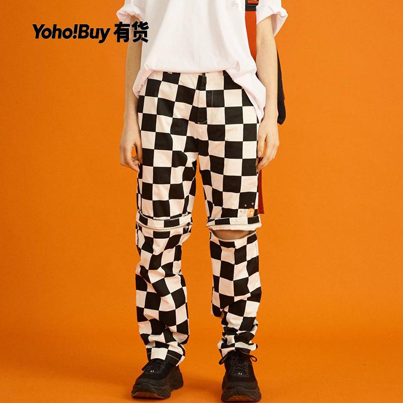 yoho有货潮牌Life After Life2019新款可拆卸裤腿格纹休闲裤男