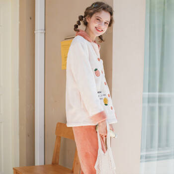 芬腾 睡衣女冬季新品珊瑚绒清新休闲长袖翻领开衫家居服套装女 米黄 L