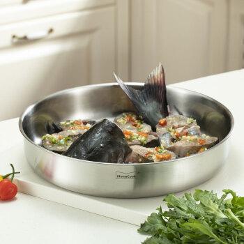 Momscook 不锈钢菜盆 盘子 盆子 碗 碟子 304材质 大菜盘 JA-WP12 *3件,降价幅度25.6%