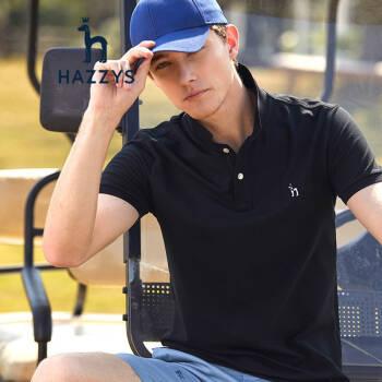 哈吉斯HAZZYS 夏装POLO衫时尚简约休闲T恤ASTZE09BE11C 黑色BK 180/100A 50