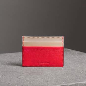 博柏利 BURBERRY 男士亮红色双色皮革卡片夹 40748731,降价幅度60%