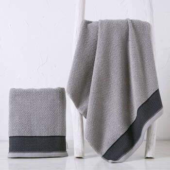 金号毛巾家纺 纯棉素色简约加厚浴巾 素色提缎浴巾 灰2色 140*72cm,降价幅度9.3%