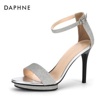 Daphne/達芙妮夏季新款高跟鞋亮片一字扣純色時尚細跟涼鞋女 銀色 36