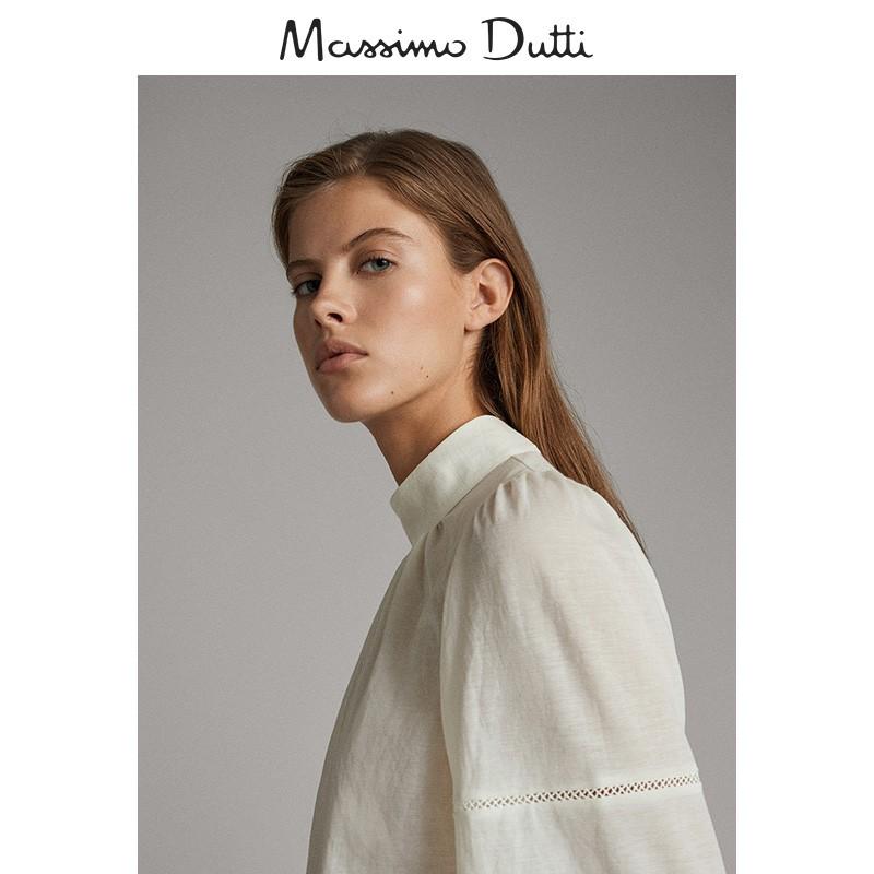 秋冬大促 Massimo Dutti 女装 蕾丝镶边蓬袖高领修身衬衫 06811515251,降价幅度65.7%