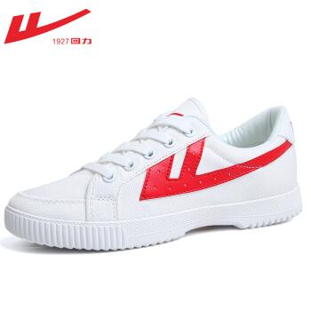 回力帆布鞋冬季棉鞋情侣款春季男女低帮鞋休闲鞋经典板鞋学生鞋子 HL7048白红 41 *2件