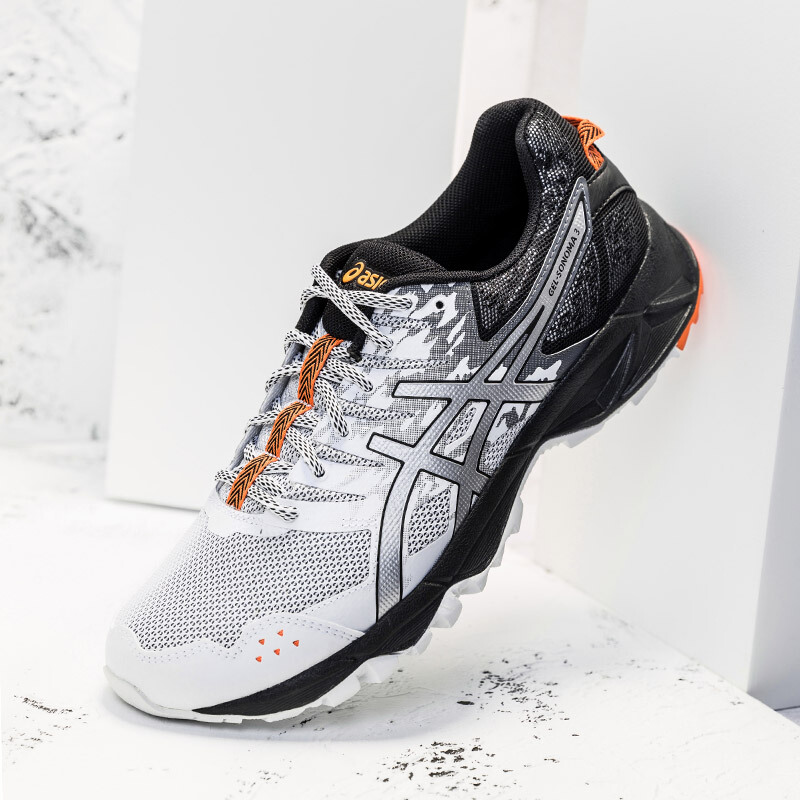 亚瑟士ASICS 透气越野跑鞋男户外跑步鞋运动鞋 GEL-SONOMA 白色/银色/橘色 41.5,降价幅度22%