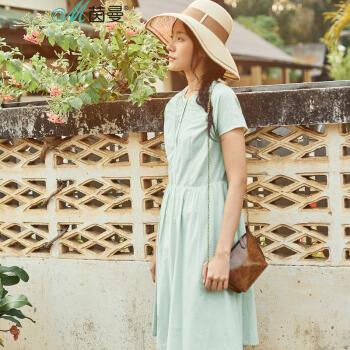茵曼夏裝新款圓領凈色純棉高腰顯瘦連衣裙女 淺草綠 M,降價幅度45.7%