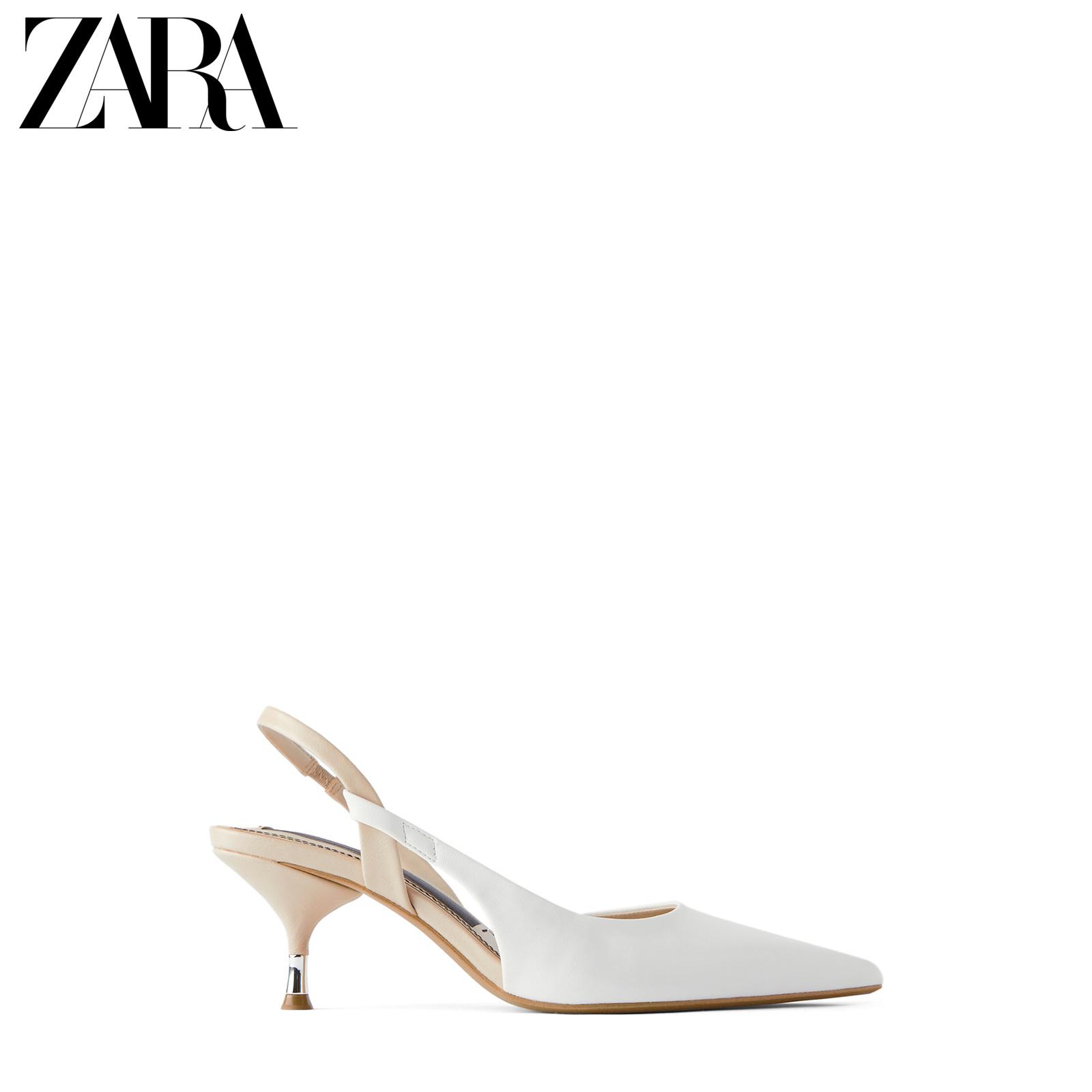 ZARA 新款 女鞋 白色尖头细跟露跟高跟鞋 12208511001