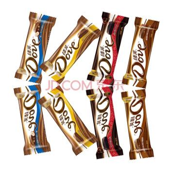 德芙(Dove)德芙巧克力43g* 8支经典口味组合装 香浓黑巧/榛仁/醇香摩卡/丝滑牛奶 七夕情人节礼物送女友,降价幅度11.9%