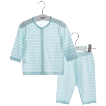哈贝比婴儿衣服夏季轻薄透气男女婴童套装初生宝宝前开长袖内衣新生儿衣服两件套空调服 粉绿色 70+凑单品