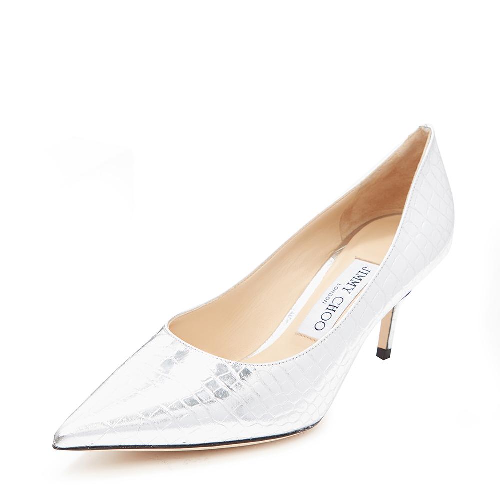 Jimmy Choo周仰杰 LOVE65系列经典款银色牛皮鳄鱼纹女高跟鞋婚鞋
