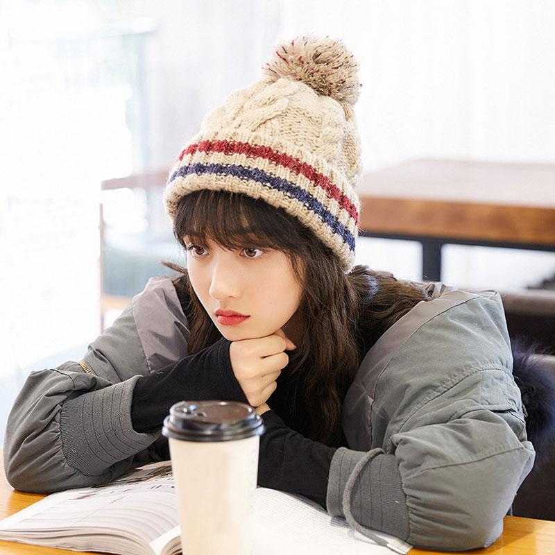 帽子女冬季针织帽学生毛线帽麻花韩版潮百搭加厚保暖毛球甜美可爱