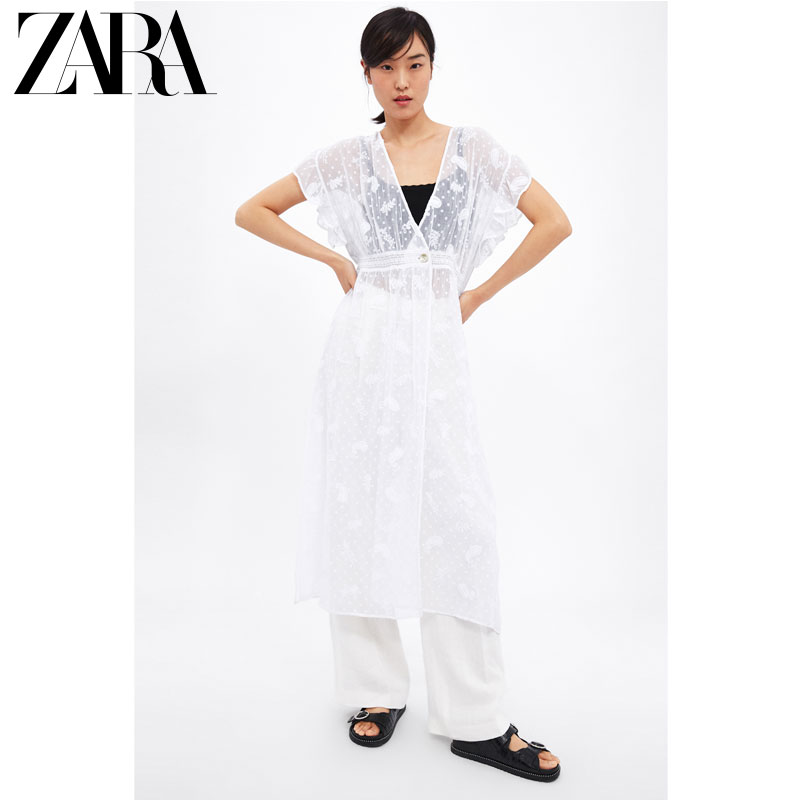 ZARA 新款 女裝 長款刺繡襯衫 05598048251