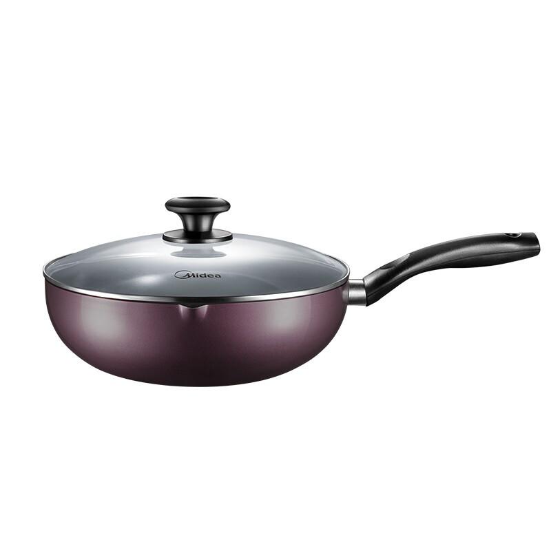 美的麥飯石色不粘鍋家用炒鍋電磁爐不沾鍋煤氣灶適用炒菜專用平底鍋 紫色