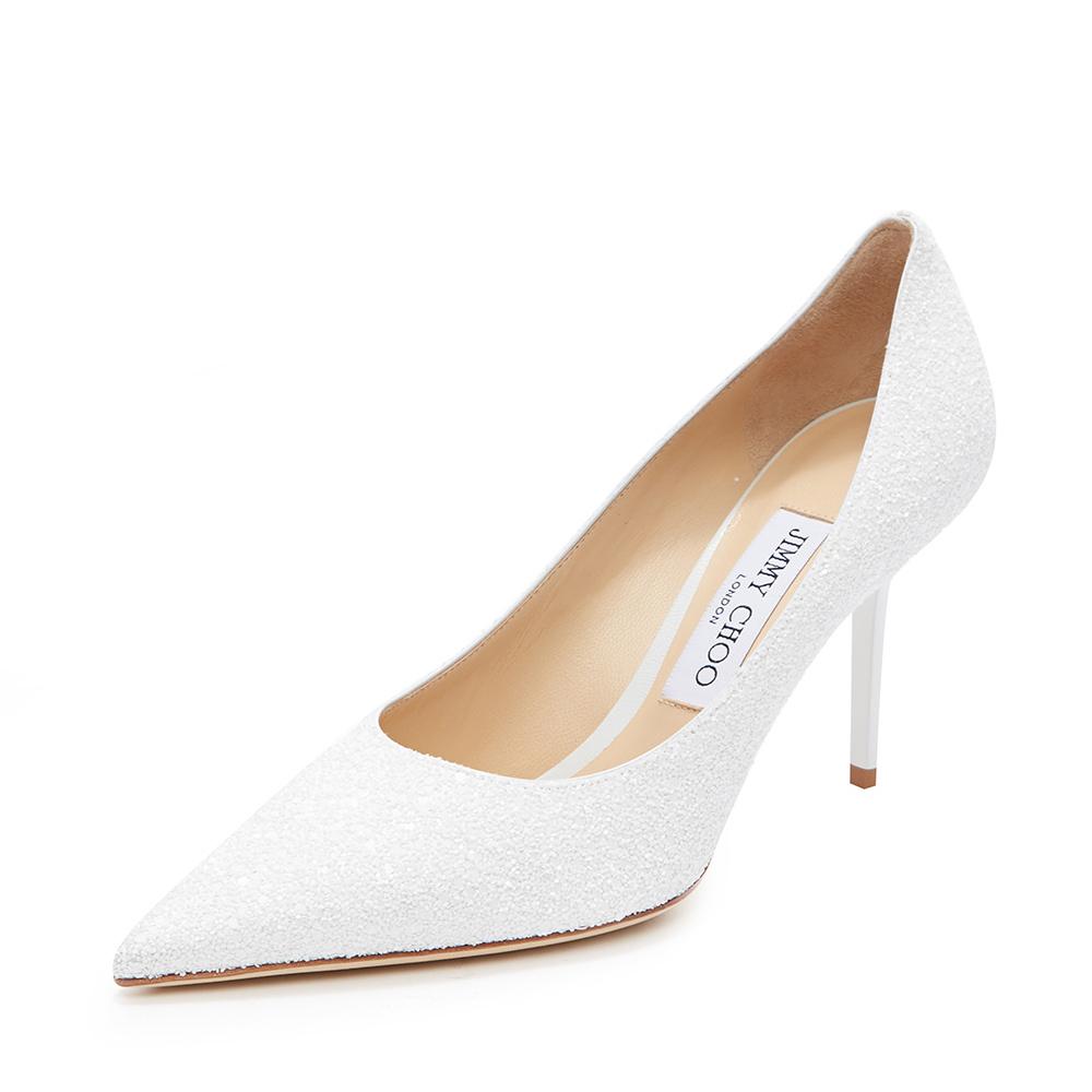 Jimmy Choo周仰杰 LOVE85系列经典款白色羊皮女士尖头单鞋高跟鞋