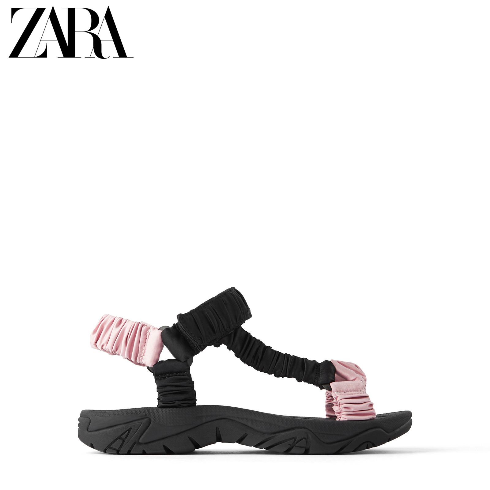 ZARATRF 女鞋 拼接蝴蝶结饰缎面运动平底凉鞋13878510202,降价幅度60.2%