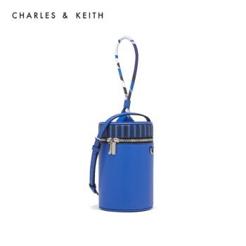 CHARLES&KEITH單肩包CK2-50270211撞色拼接飾女士手提水桶包 Blue藍色 S,降價幅度31.9%