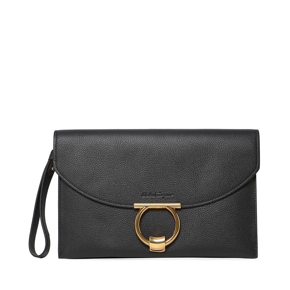 Ferragamo/菲拉格慕经典款黑色羊皮徽标扣饰潮流时尚手拿包女包