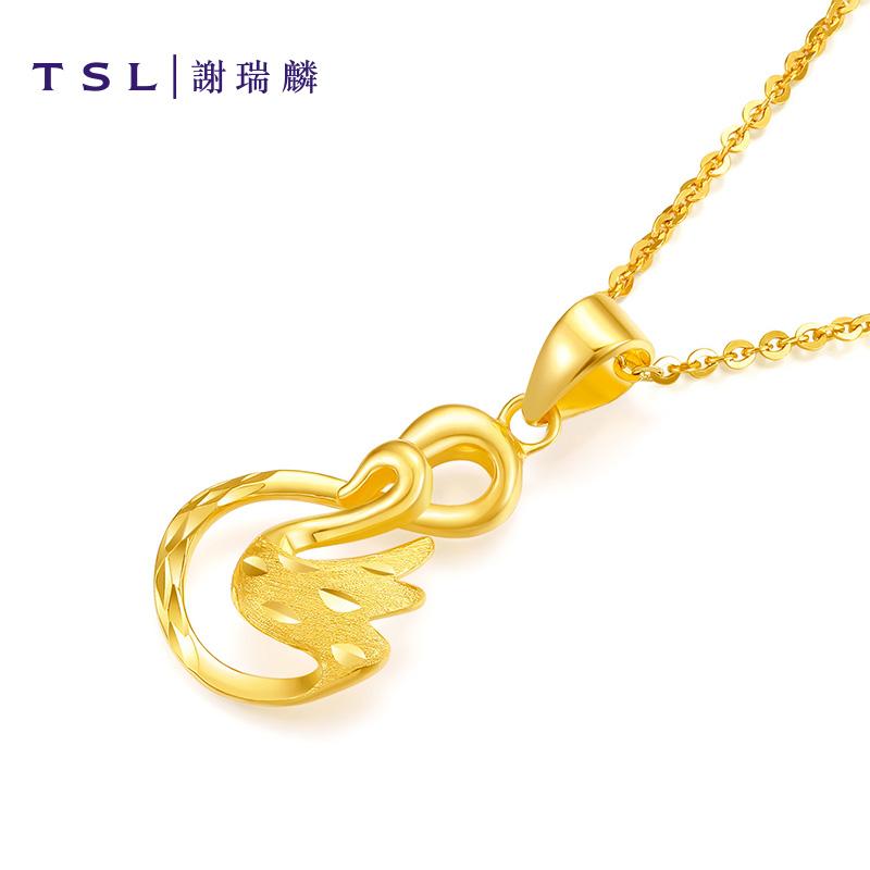 TSL谢瑞麟G+系列黄金吊坠时尚简约足金气质女款装饰颈饰XI576,降价幅度16%