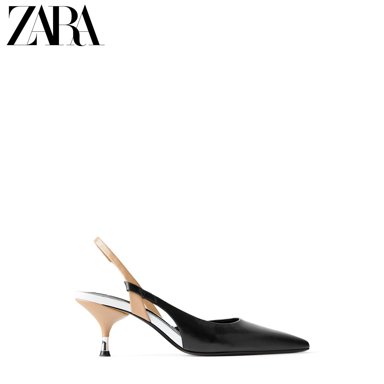ZARA 新款 女鞋 黑色露跟细跟高跟鞋 12210510040