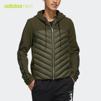 阿迪達斯官網adidas neo 男裝冬季休閑連帽拉鏈短款羽絨服運動外套EI6284 如圖 M