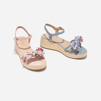 熱風2019年夏季新款涼鞋女學院風女士坡跟涼鞋一字扣帶休閑單鞋女 06蘭色 38