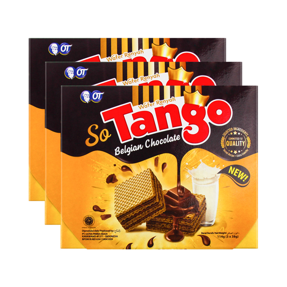 Tango奥朗探戈比利时巧克力味威化饼干114g*3零食大礼包,降价幅度18.6%