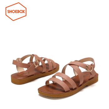 鞋柜夏季新款PINKII細帶一字扣平底涼鞋女 杏色146 35,降價幅度20.2%