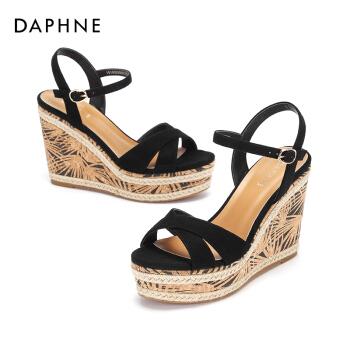 Daphne/达芙妮夏季新款一字带时尚坡跟拼色休闲绒面凉鞋女 黑色 38,降价幅度56.8%
