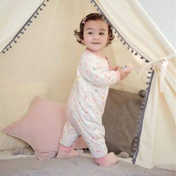 英氏童装婴儿服连体衣保暖哈衣宝宝爬服夹棉哈衣四季款 1009yh5035粉色 80cm