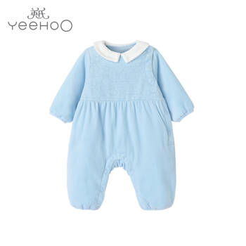 英氏嬰兒連體衣 寶寶夾棉秋冬新款休閑天鵝絨哈衣爬服 天藍色1810Ayh8123 90cm