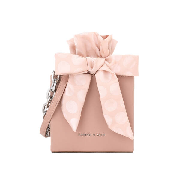 CHARLES=&KEITH 單肩斜挎CK2-10700805金屬鏈條裝飾女士立體水桶包 粉紅色 S,降價幅度21.3%