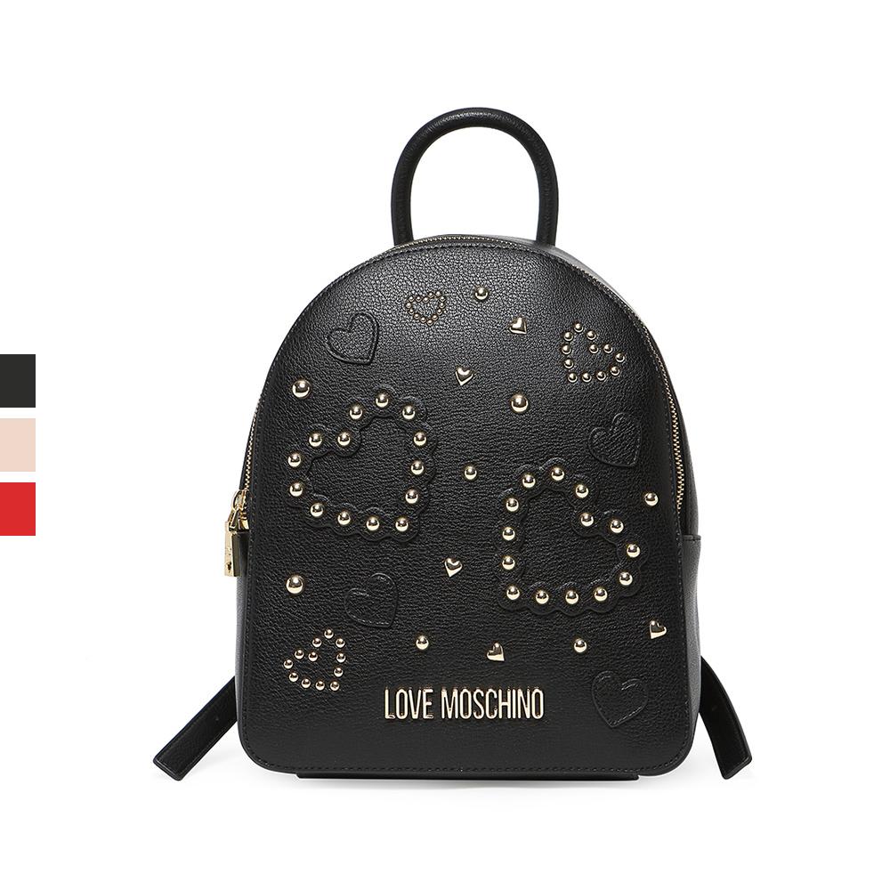 Love Moschino/莫斯奇诺 20春夏多色铆钉爱心贴片双肩包背包女包