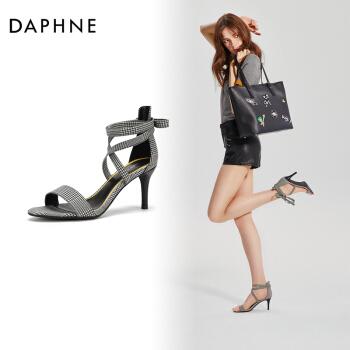 Daphne/達芙妮夏季新款交叉系帶高跟鞋千鳥格英倫時尚涼鞋女 黑色 39,降價幅度47.6%