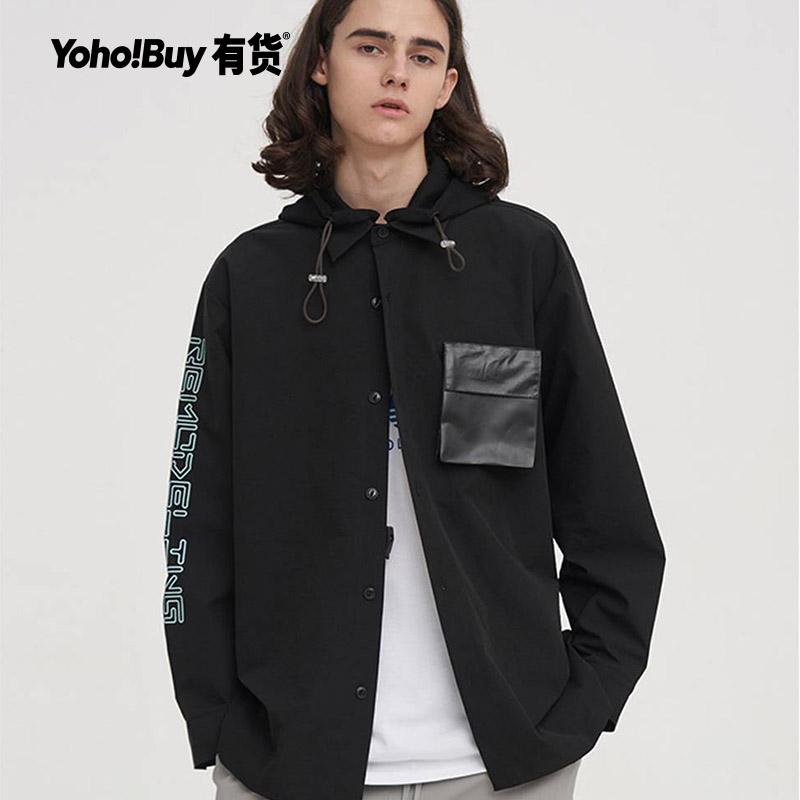 YOHO有货潮牌 Dusty 2020年春装新款字母印花连帽纽扣连帽风衣男,降价幅度35.2%