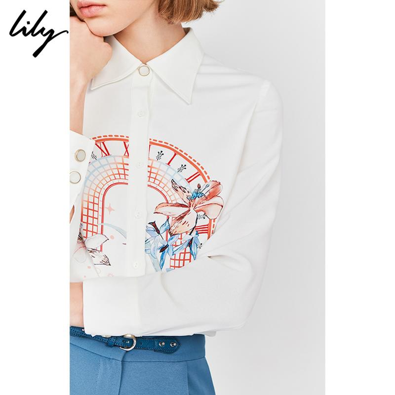 Lily2020春新款女裝氣質印花寬松直筒白色長袖上衣雪紡衫襯衫4920