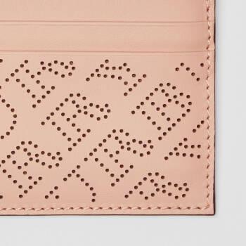 博柏利 BURBERRY 女士浅黄褐粉红冲孔徽标皮革卡片夹 40789571,降价幅度60%