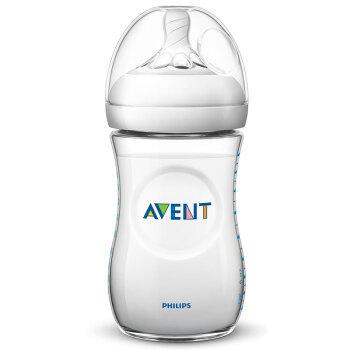 飞利浦新安怡 奶瓶 塑料奶瓶 新生儿奶瓶 进口宽口径260ml自带1M 奶嘴 *2件