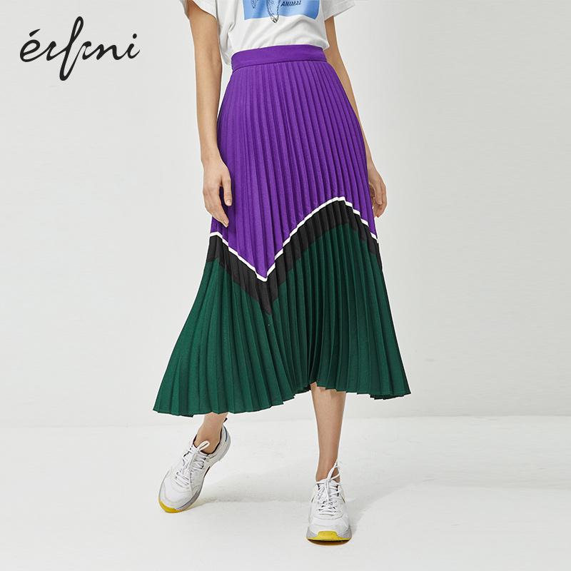 伊芙丽半身裙女2020年新款夏裙子中长款高腰a字紫色香芋紫百褶裙,降价幅度67.5%