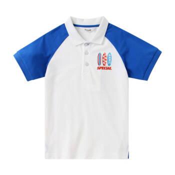 安奈兒童裝男童T恤短袖夏2019新款洋氣翻領中大童休閑POLO衫上衣 彗星藍 150cm,降價幅度23.9%