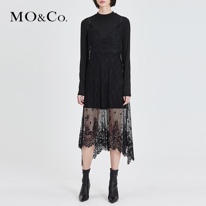 MOCO春季新品蕾丝钩花两件套连衣裙MA181DRS215 摩安珂