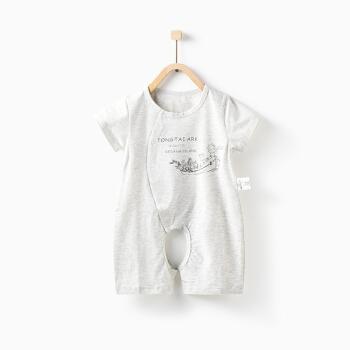 童泰夏季婴儿衣服连体衣3-18个月男女宝宝短袖开裆哈衣 *2件