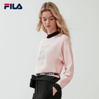 FILA 斐乐官方 女子卫衣 2020春季新款舒适休闲运动长袖衫上衣 沙皮粉-LP 175/92A/XL