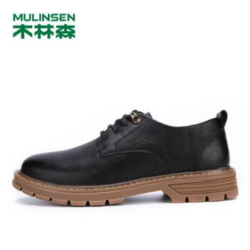 木林森(MULINSEN)男鞋戶外休閑鞋男皮鞋懶人低幫套腳駕車鞋子 黑色 40碼 SL97301-1