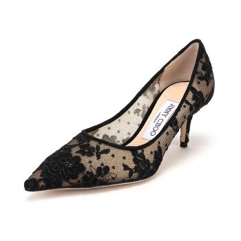 JIMMY CHOO 周仰杰 女士黑色花卉图案织物尖头高跟鞋 LOVE 65 ORE 247 BLACK 38码+凑单品