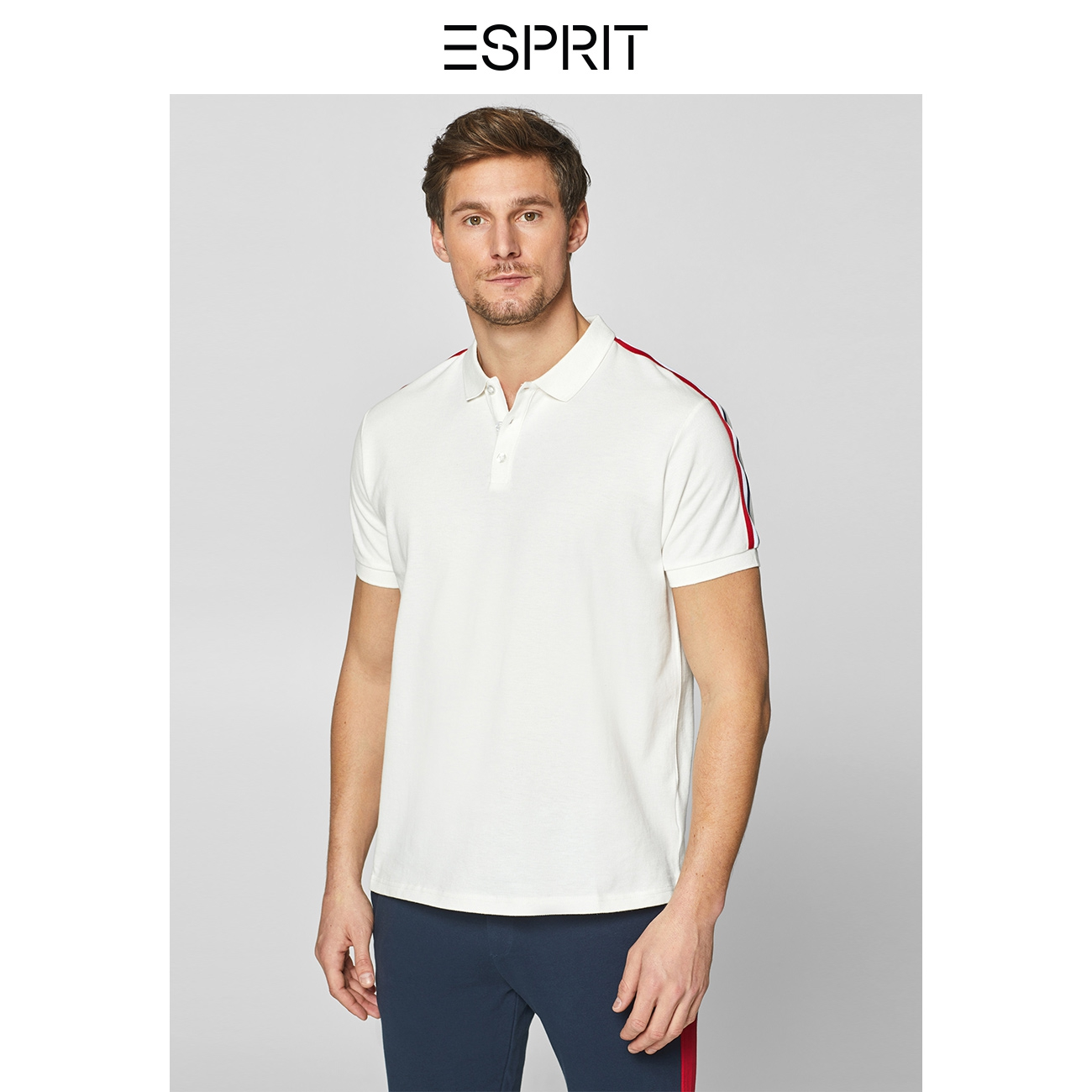 ESPRIT潮流時尚純棉個性翻領短袖T恤男純色polo衫拼,降價幅度50.3%